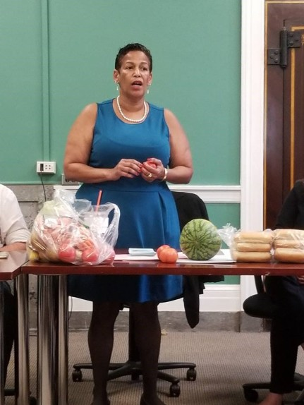 Kim Owens of Fair Foods presented to Hartford's Advisory Commission on Food Policy in September. Photo Courtesy of Hartford's Advisory Commission on Food Policy